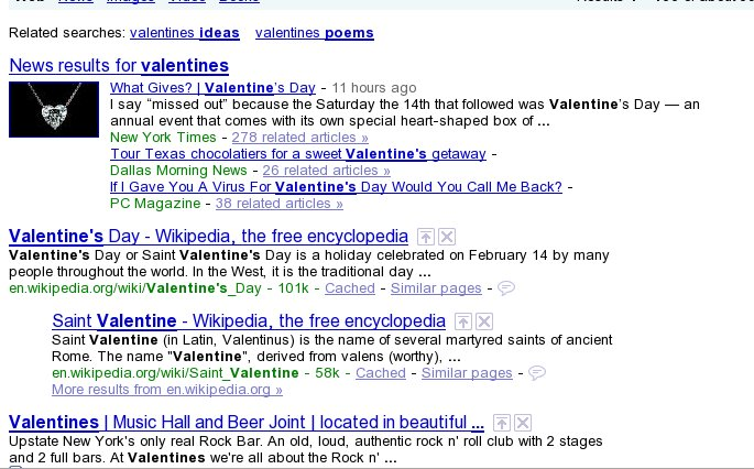 Negative Keyword Research for Valentines with Google SERP