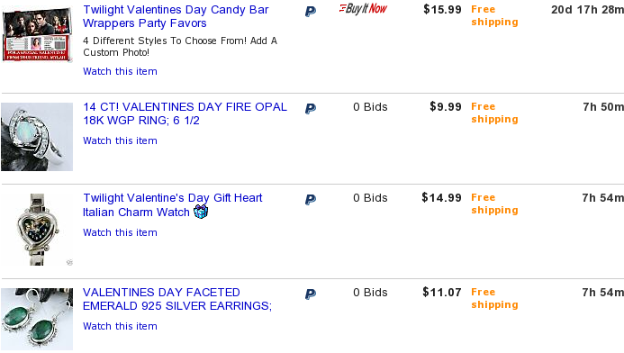 Negative Keyword Research on Ebay for Valentines Day Gifts