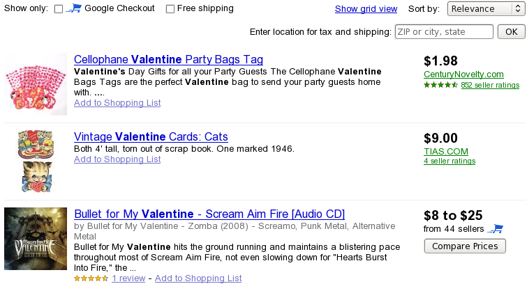 Valentines Negative Keyword Research with Google Products
