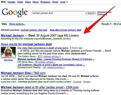 Google Results showing Michael Jackson died at age 65
