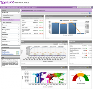Yahoo Web Analytics Screenshots