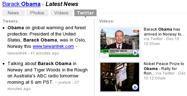 Yahoo Real Time Search Results for Obama