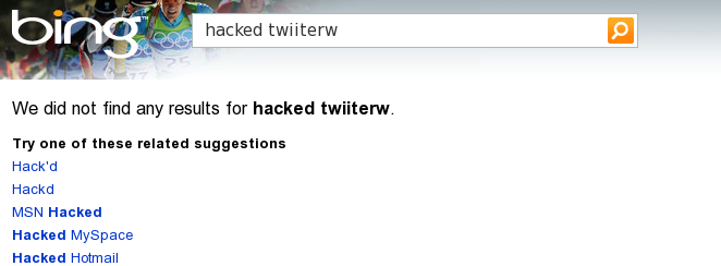 Bing SERP for the query hacked twitterw