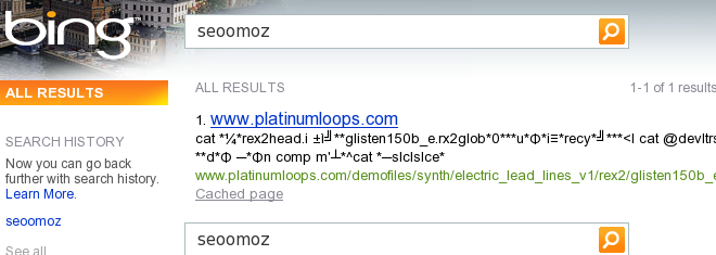 Bing SERP for the query seoomoz