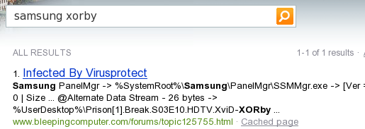 Bing SERP Results for query samsung xorby