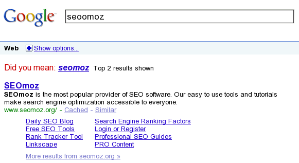 Google SERP for the query seoomoz