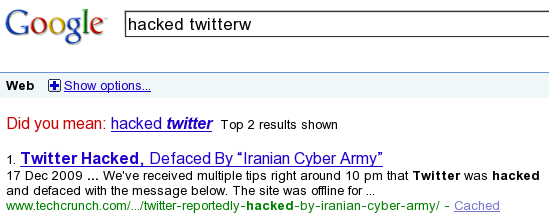 Google SERP for the query hacked twitterw