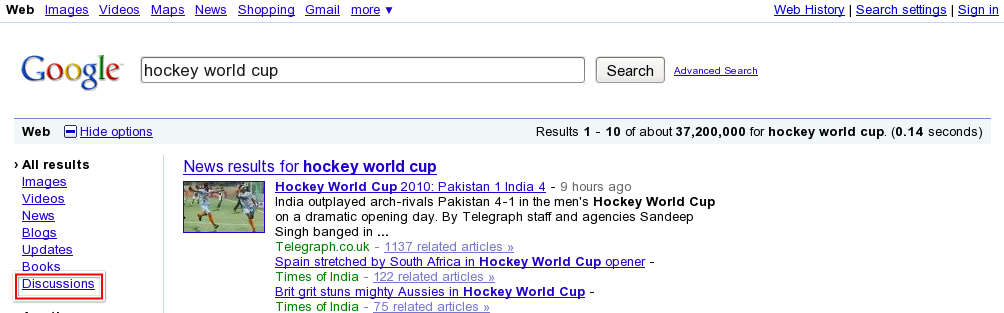 Google Discussions Results for Hockey World Cup