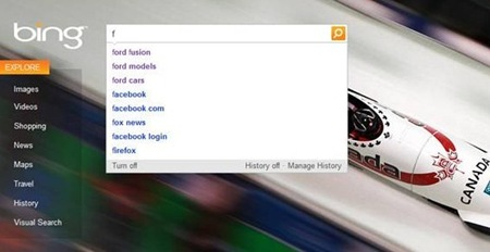 Search History support in Bing Autosuggest Search
