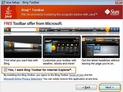Bing toolbar bundled with Java Installation