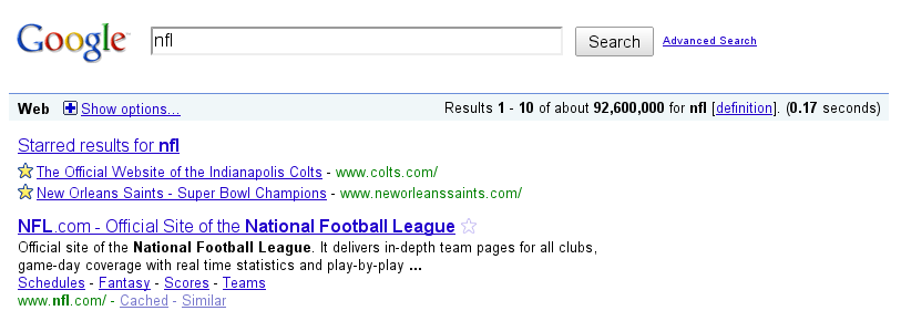 Google Star in search