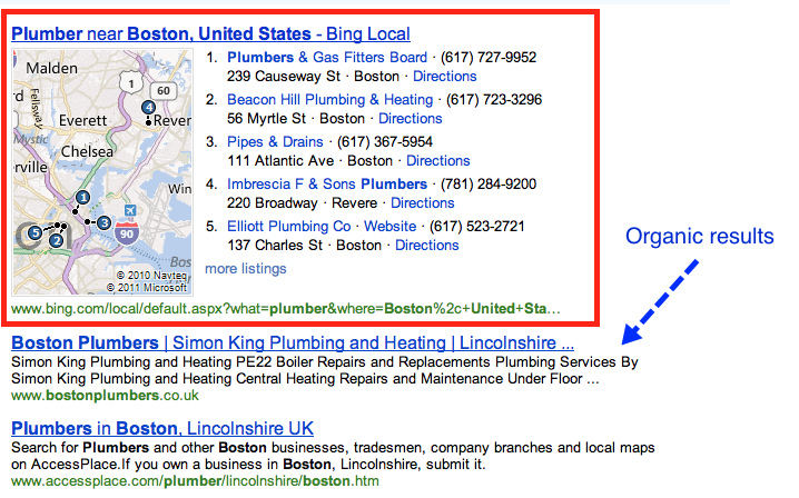 Bing Current Local Search Layout