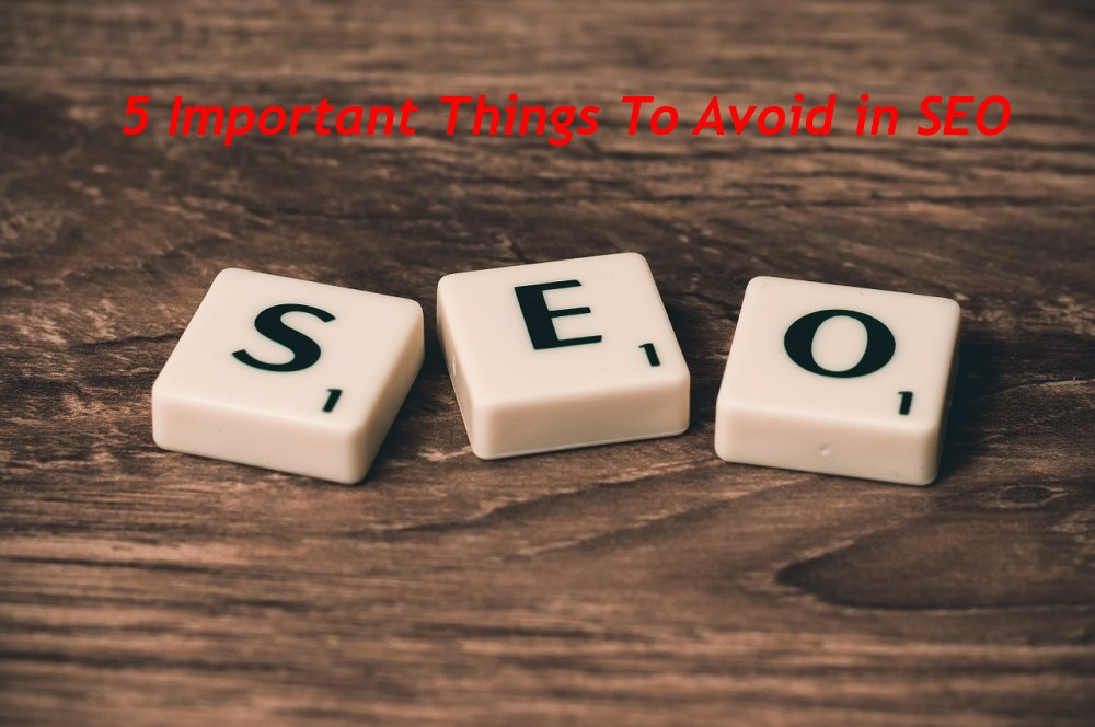 5 Important Things To Avoid in SEO